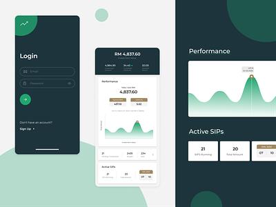 Login & Dashboard - Investment finance design ui  ux growth investment app dashboard login investment