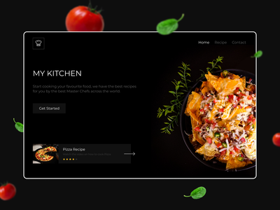 My Kitchen - Landing Page masterchef dark theme webdesign mykitchen recipe food uiux landing page website
