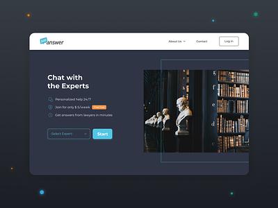 Landing Page - JustAnswer web design landing page chatbot lawyers website uiux