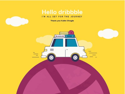 Hello Dribbble! journey travel car hello dribbble dribbble illustration