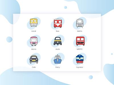 Transportation icons sketch icons icon set transportation design ui illustration app