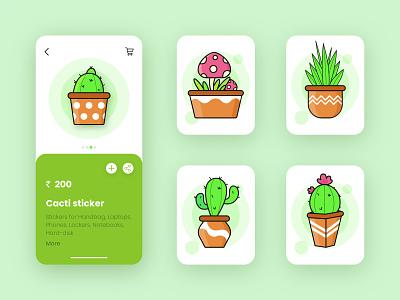 Shop Online Cactus Stickers online shop stickers cactus illustration design app ui