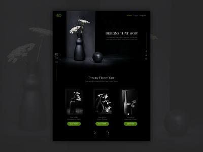Landing page - Vase dark theme flowers website online shop vase design ui landing page