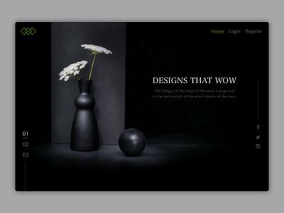 Landing page - First fold website landingpage vase design ui
