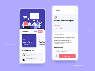 Job Finder Concept App Design ios mobile app motion modern vector ux typography ui mobile minimal illustration icon 2d flat design clean character branding animation app