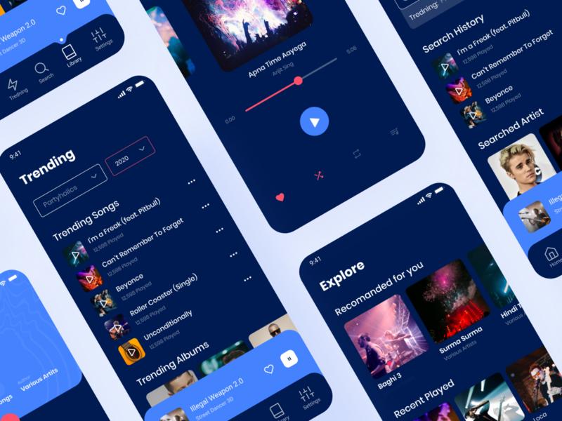 Music App - Dark Version music player ui uiux uikits trending design trending uikit ui design songs dark song music app music player music player mobile app design mobile app mhmanik02 app ui app design app