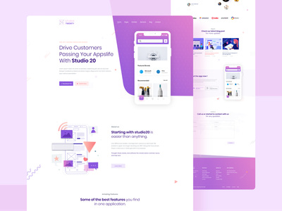 App Landing Page Design 2020 trends 2020 trend saas app screen landing page design uidesign landingpage app store app showcase app landing page app landing landing page modern ux typography interface creative concept ui app