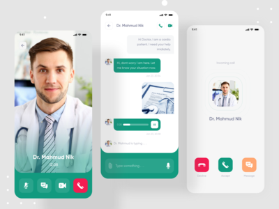DoctotPoint - Doctor Consultant Mobile App - Call & Messaging clean design ui incoming call ui design uidesign mobile app design mobile app mobile mobile ui messaging doctor appointment consultation consultant doctor app audio call video call chat calling call
