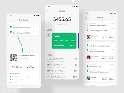 Ride Sharing Mobile App - Passenger App ride app wallet mobile app design mobile ui mobile ux ui ios interface mobile app illustration design clean app design ui design ui designer rider ride sharing ridesharing rideshare