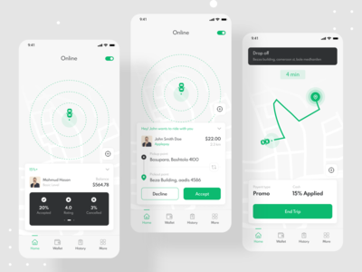 Ride Sharing Mobile App - Driver App booking app taxi booking app taxi driver taxi app ride rideshare ride sharing ridesharing devignedge mobile ui clean design clean creative mobile mobile app design mobile app app ui uidesign ui design