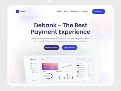 Debank | Banking Software Landing Page | Website banking website banking app banking finance webapp web app software devignedge landing page design landing design landing page landingpage website landing page dashboard ui dashboard website concept websites website design website uidesign