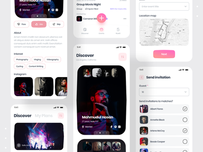 Social Communication & Dating Mobile App social network social app profile dating dating app event invite comunication social app ui design app ui dribbble best shot devignedge mobile ui mobile design mobile app design app design app mobile app mobile