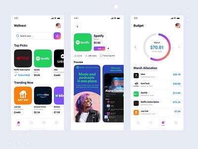 Wellnext - Subscription Base App Store ios app mhmanik02 store app store mobile app app devignedge uidesign ui design branding graphic design