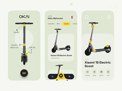 Electric Bike or Scooter Shop  - Mobile App uidesign ui designer top designer ui design shopper app ui design mobile app mhmanik02 devignedge online store shopping online shop store shop ecommerce cargo bike bike electric bike scooter