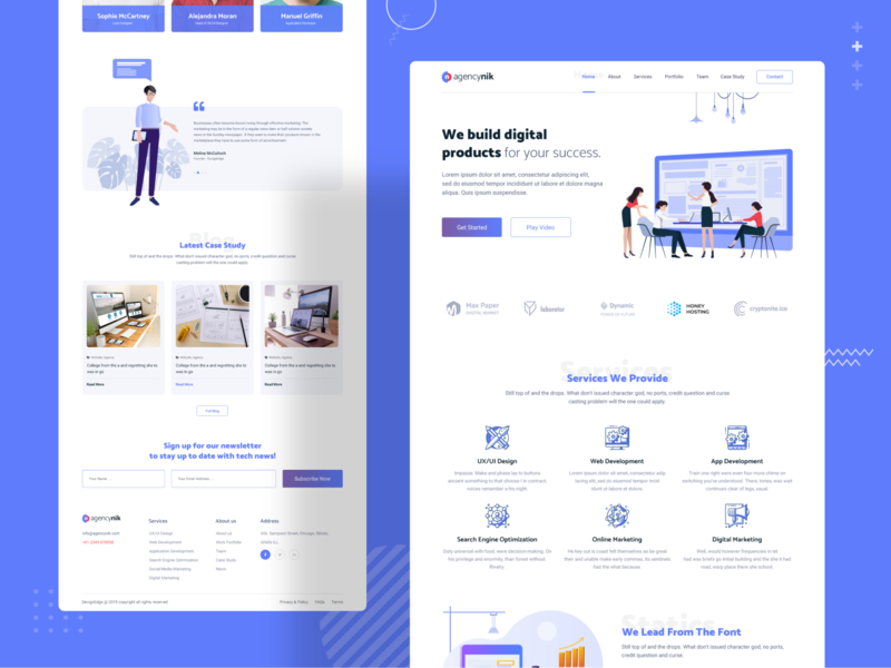 Agencynik - Creative Startup Agency Website Template testimonial services page homepage business agency digital agency landingpage landing page website template ui design uidesign trend 2019 2019 trend psd template download creative agency creative corporate agency website agency landing page agency