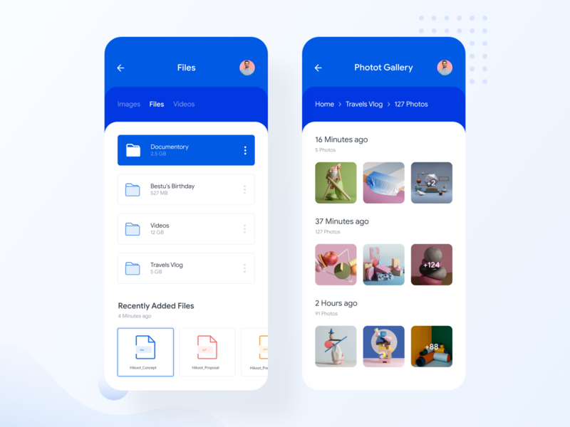 File Manager App Exploration file sharing mobile app design management app ui design uidesign ui video photo gallery folder colorful icon clean file upload file manager manager file app