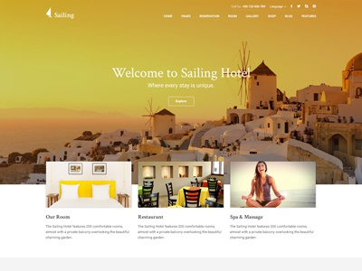 Hotel Wordpress Theme - Sailing booking room hotel hotel wordpress theme web design ux ui wordpress