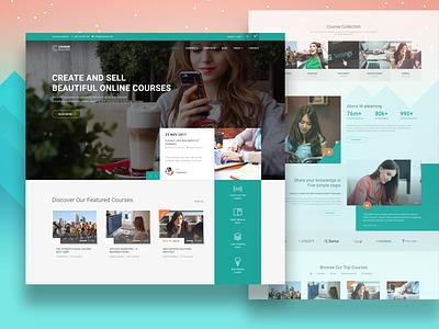 Online Course & Education Website Concept school education ux ui website web design green