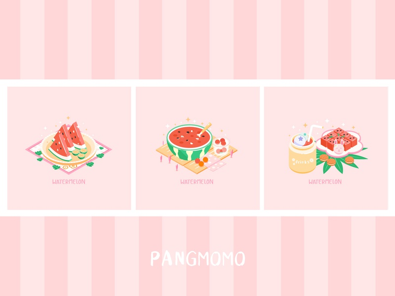 cheerful food(watermelon) fruit food delicious flat design illustration