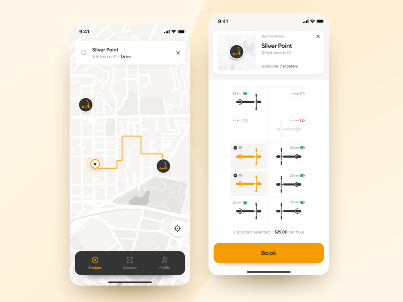 Scooters Booking App - Concept booking booking app rent mobileappdesign mobileapp app figma citylife map scooters scooter uidesign ui
