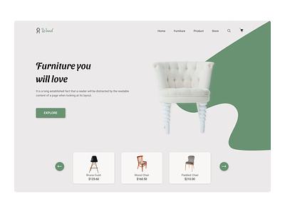 Furniture Website Landing page vector ux graphic design design website