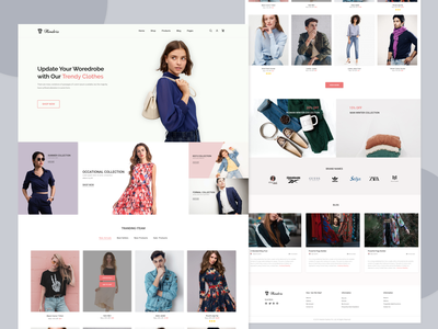 Clothing Web Page e-commerce website product design clean boutiue minimal dress collection cloth store woman fashion website concept landing page website design