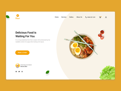Landing page for Food service design graphic design good food landing page ux design ui design restaurant website design clean minimal home page food page food landing page