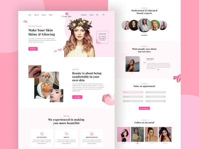 Spa & Beauty Salon Landing Page ux design ui website creative clean minimal spa  beauty salon website design landing page