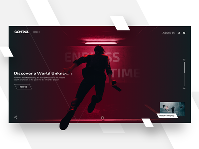 Control, Remedy Game Landing page concept