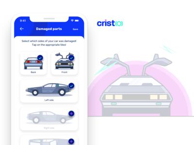 Cristo car insurance app - Damaged parts step