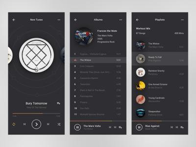 Nova adobe xd web layout app ui music player music mobile dark flat clean ux