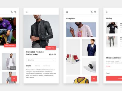 Onyx adobe xd fashion shopping minimal web ux ui mobile layout flat clean app