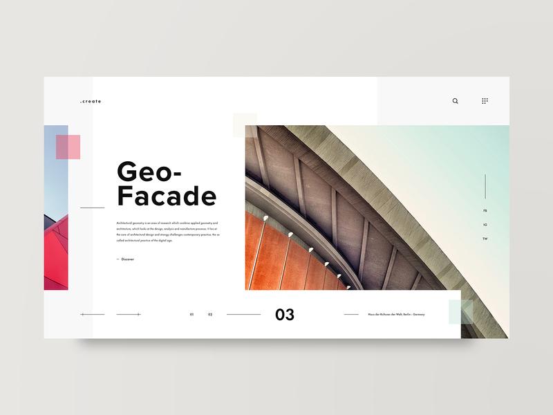 Facade grid architect layout architecture web design design minimal web clean ux ui adobe xd