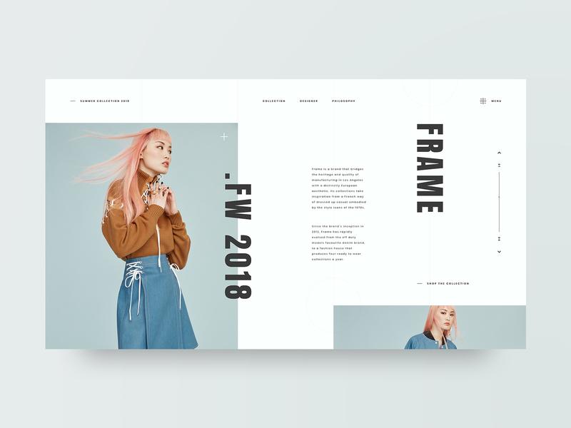 Frame fashion photography grid layout web design design minimal web clean ux ui adobe xd