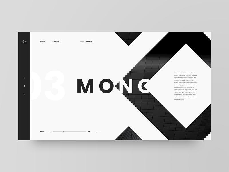 Mono dribbble invite monochrome grid layout web design design minimal web clean ux ui adobe xd