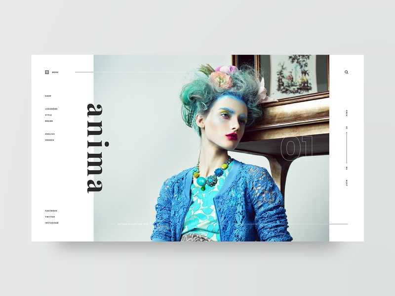 Anima model lookbook photography typography fashion layout grid web design design minimal web clean ux ui adobe xd