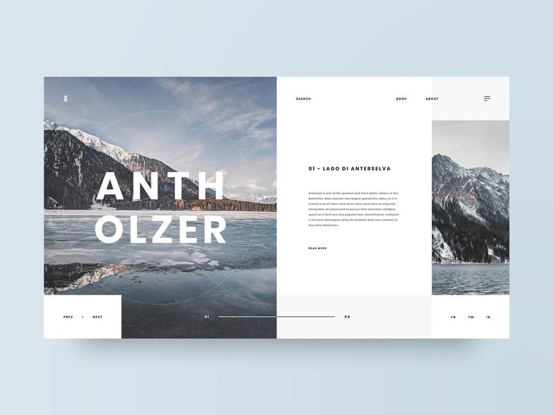 Antholzer typography travel photography grid layout web design design minimal web clean ui ux adobe xd