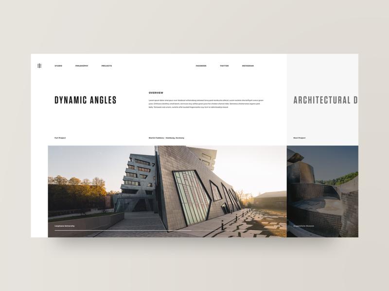 Dynamic portfolio architecture photography grid layout web design design minimal web clean ux ui adobe xd