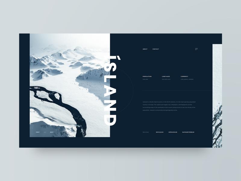 Island iceland dark travel photography grid layout web design design minimal web clean ux ui adobe xd