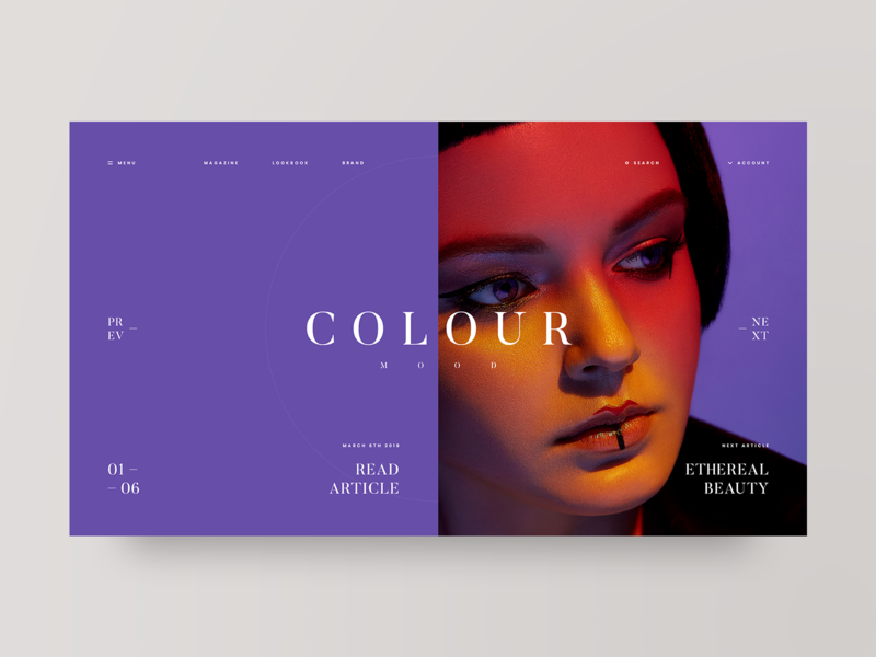 Mood model colorful fashion photography grid layout web design design minimal web clean ux ui adobe xd