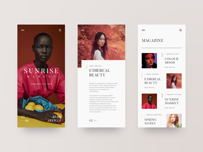 Mood - Mobile responsive design responsive magazine blog app mobile fashion photography layout web design design minimal web clean ux ui adobe xd