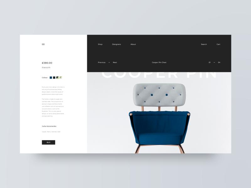 Mobel product card designer furniture grid layout web design design minimal web clean ux ui adobe xd