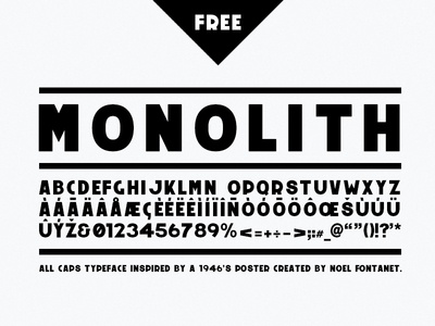 Monolith - free typeface font all caps typography free download