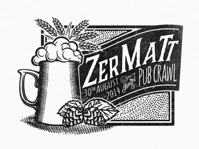 Pub Crawl logo logo illustration vintage typography hand drawn beer