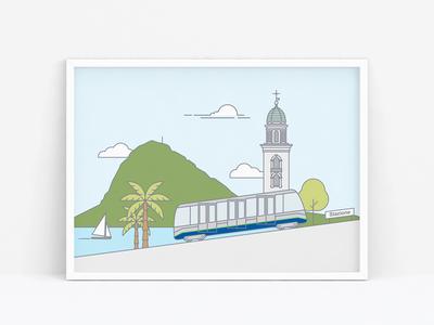 TPL illustration line art funicular vector illustration