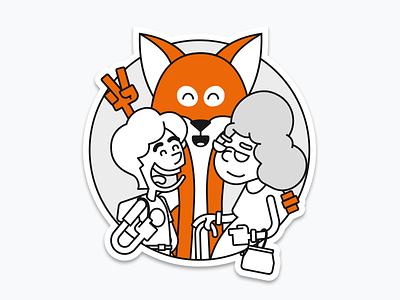 Fox mascot line art character design mascot vector illustration fox