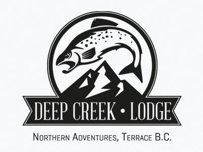 Deep Creek Lodge logo identity branding fish mountain