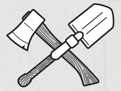 Axe & Shovel illustration map vector axe shovel entrenching tool