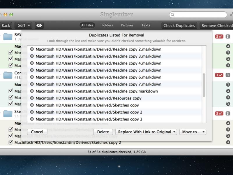 Duplicates staging area mac mac os x os x app application singlemizer duplicate files duplicates utility native retina ui user interface app store apple interface
