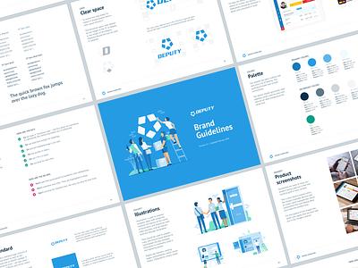 Deputy Brand Guidelines brand identity brand guidelines minimalist layout branding illustration logo design deputy